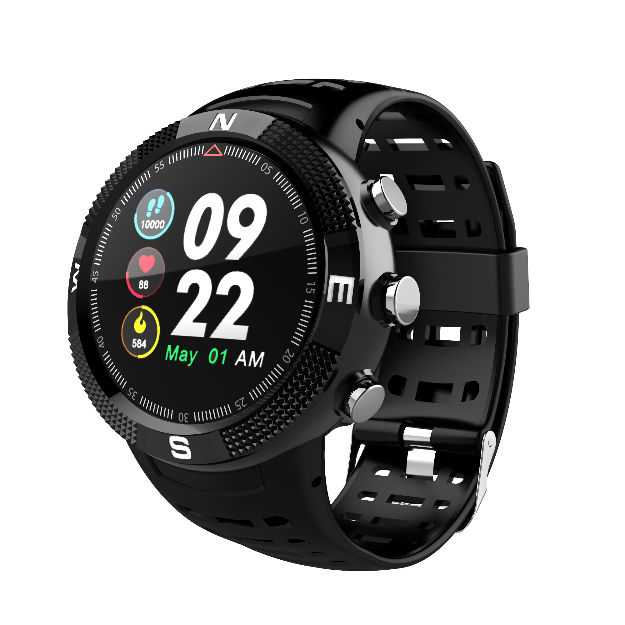 NO.1 F18 Bluetooth 4.2 IP68 Waterproof Call Message Reminder Pedometer Sleep Monitoring GPS Smartwatch Sports Watch image