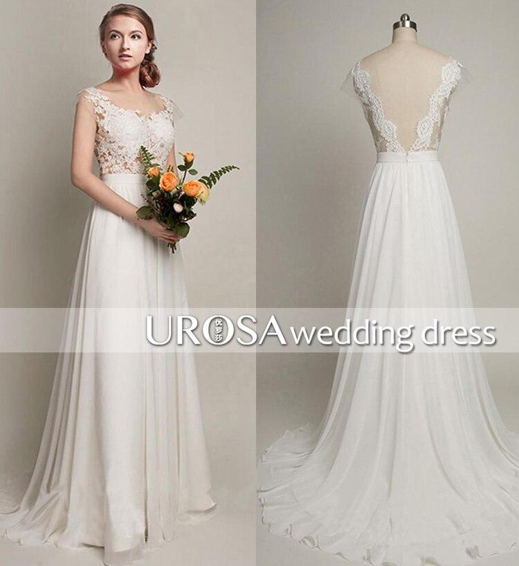 vestido de noiva kurtis 2018 backless long lace Wedding White chiffon cheap appliques Vintage Bridal Gowns Mother of Bride Dress