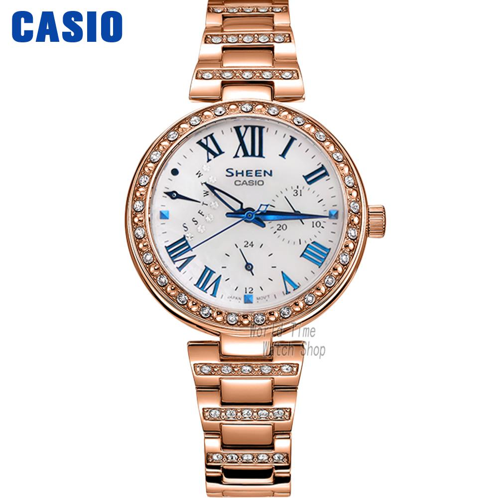 Casio watch Ladies watch fashion rhinestone quartz watch SHE-3043BPG-7A SHE-3043BSG-9A SHE-3043D-7A SHE-3043PG-7A SHE-3043PG-9A casio watch fashion trend ms quartz watch she 4048pgl 6a