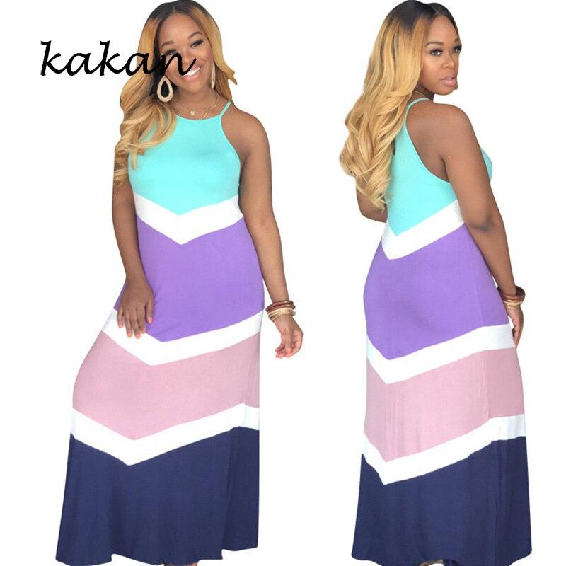 Kakan summer new womens fashion strap dress striped irregular print sleeveless sexy