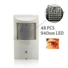 Night Vision 48pcs IR 940nm 800TVL Sony CCD Security Indoor CCTV Mini PIR Style Camera pir mini camera pir IR Invisible camera
