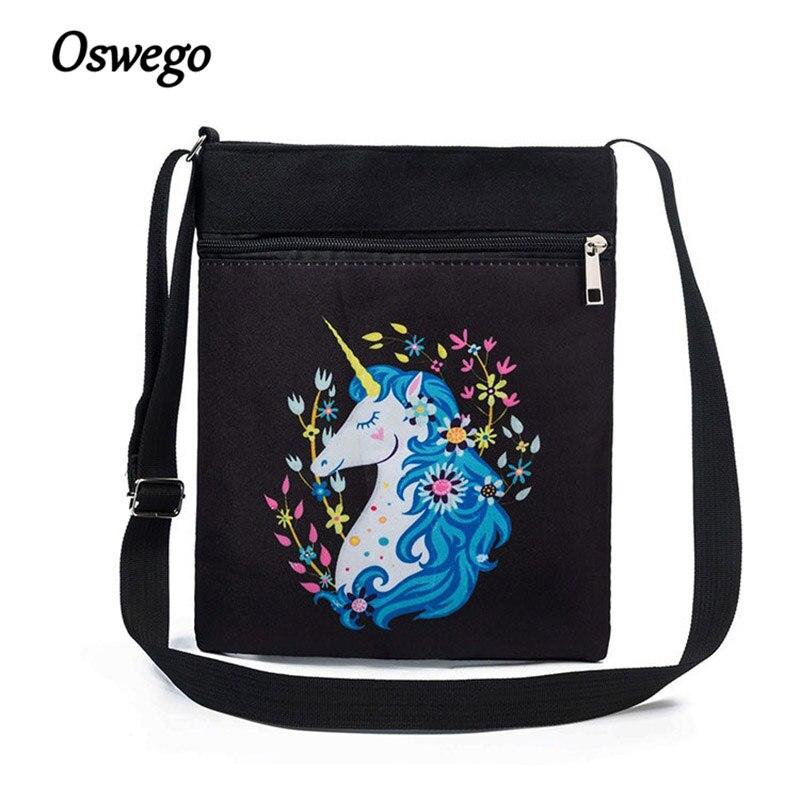 Oswego Light Messenger Bags Two Zipper Animal Cartoon Unicornio Printing High Quality Designer Fashion Mini Women Crossbody Bags