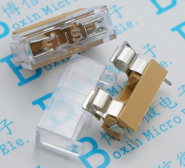10pcs 5*20mm glass fuse holder transparent holder with cover fuse blocks !