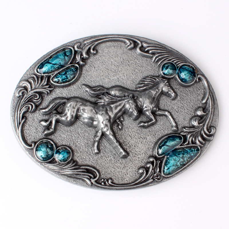 Double Horse Belt Buckle Horse Series Simple Smooth Buckle