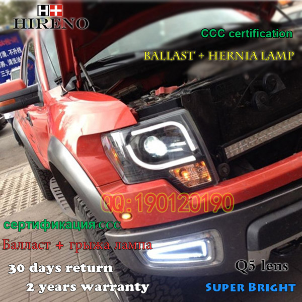 Hireno Car styling Headlamp for 2011-2014 Ford Raptor F150 Headlight Assembly LED DRL Angel Lens Double Beam HID Xenon 2pcs hireno car styling headlamp for 2003 2007 honda accord headlight assembly led drl angel lens double beam hid xenon 2pcs