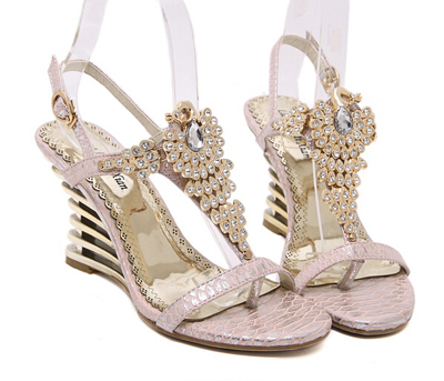 Pink Sandals Wedge Shoes For Women Summer Rhinestone Wedding P Toe Sandalias Mujer Y941 In S Pumps From On