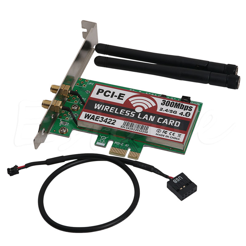 ANENG High Quality Dual-Band Bluetooth 4.0 PCI-e PCI 300Mbps Express Card Network Wlan WiFi Adapter Wholesale