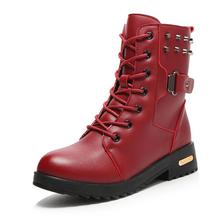 British Style Classic Women Boots Womens Motorcycle Boot Punk Bandage Ankle Waterproof Hiking Shoes Women Black Brown Red
