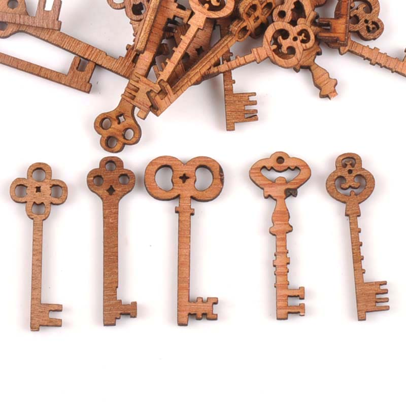 25Pcs Random Vintage Mixed Keys Unfinished Wood Decoration Handicraft Wood DIY Crafts Ornament Arts Accessories 11x40mm M0915