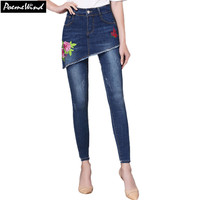 PoemeWind Plus Size Women S Denim Fake Two Piece Jeans 2017 Winter Floral Embroidery Ladies Stretch