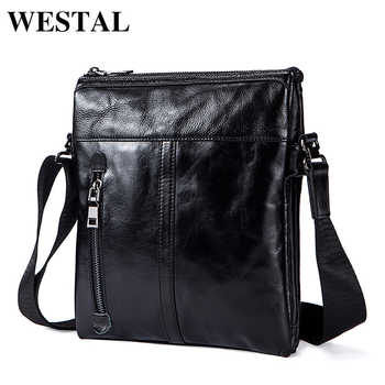 WESTAL Messenger Bag Men's Genuine Leather shoulder bag for men leather fashion Small Flap male Crossbody Bags handbags 1023 - DISCOUNT ITEM  59 OFF All Category
