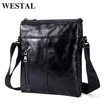 1309677f5d261 WESTAL omuz çantası erkekler Hakiki Deri için omuzdan askili çanta erkekler  deri moda Küçük Flap erkek Crossbody Çanta çanta 1023