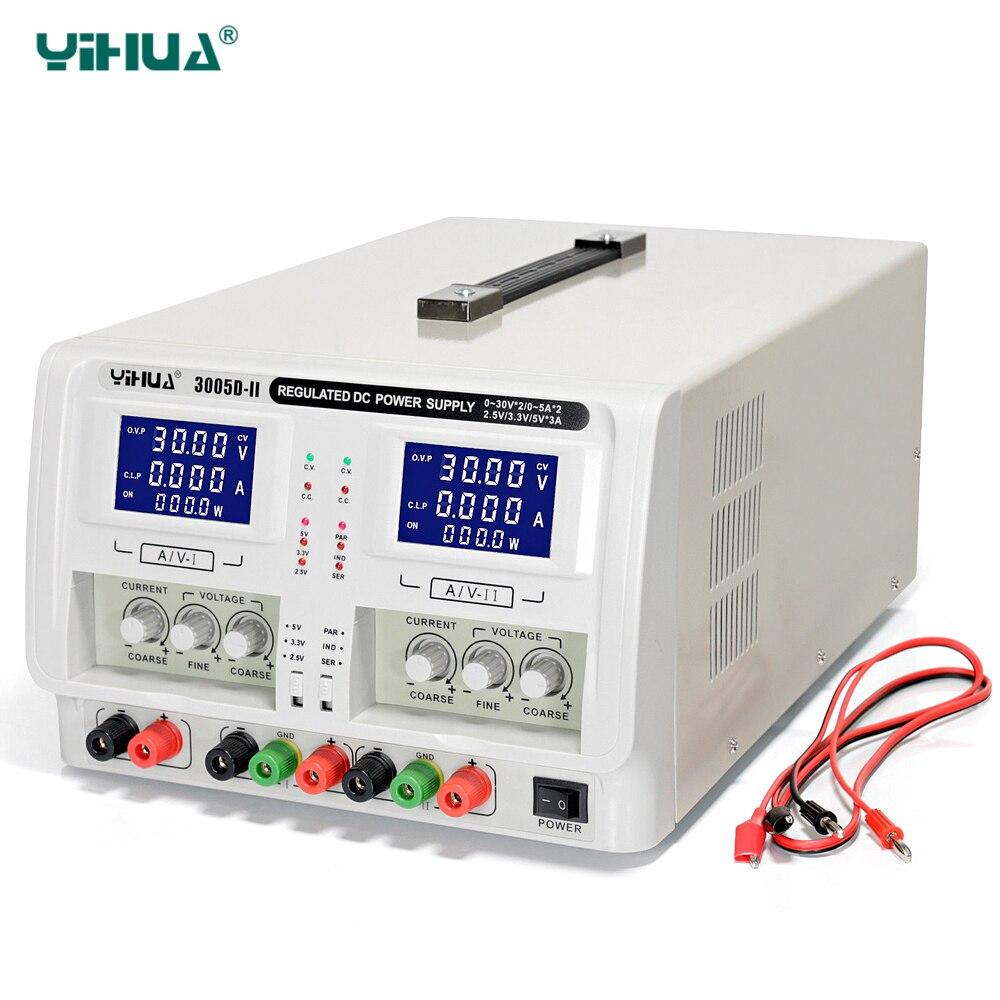 YIHUA 3005D-II регулируется лаборатория DC Питание двухканальный тройной Выход 30 В 5A Напряжение регуляторы Регулируемый Питание