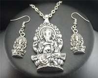 1set Tibetan Silver Elephant God Dangle Drop Earrings And Alloy Pendant Necklace Handmade DIY Jewelry E420