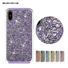 ENCHICAS Luxury Diamond Crystal Rhinestone PC+TPU Bumper Cover for iPhone X 6 6S 7 8 Plus Cases for Samsung Galaxy S8 Plus