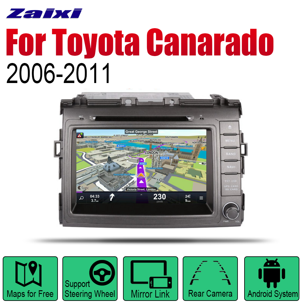ZaiXi Android Car DVD GPS Navi For Toyota Canarado 2006 2011 player Navigation WiFi Bluetooth Mulitmedia system audio stereo EQ in Car Multimedia Player from Automobiles Motorcycles