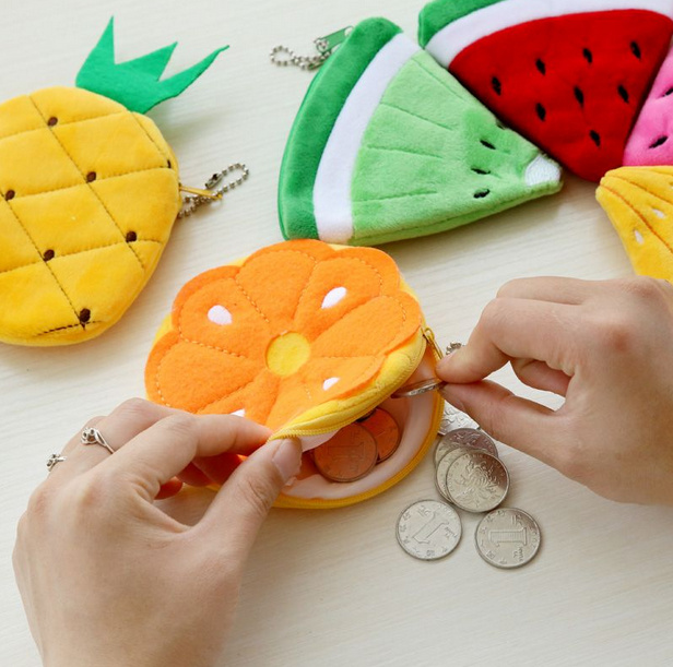 All Summer Fruits Toys  - Lemon , Watermelon Etc. Plush Toy Pocket  Purse  , Keychain Plush Toy
