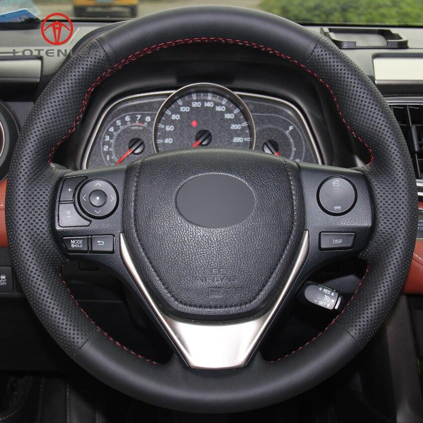 LQTENLEO Black Genuine Leather DIY Car Steering Wheel Cover for Toyota RAV4 2013 2016 Toyota Corolla