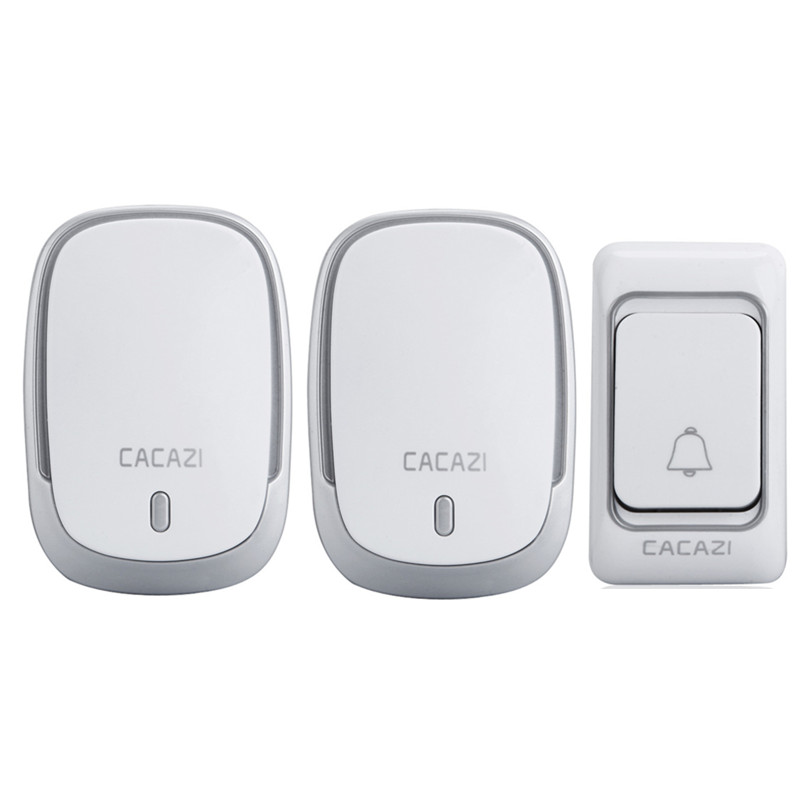 200m Range Waterproof Smart Wireless Door Bell AC 110-250V 2 Receivers + 12V 23A Transmitter Home Office 36 Chords LED Doorbell 2 receivers 60 buzzers wireless restaurant buzzer caller table call calling button waiter pager system