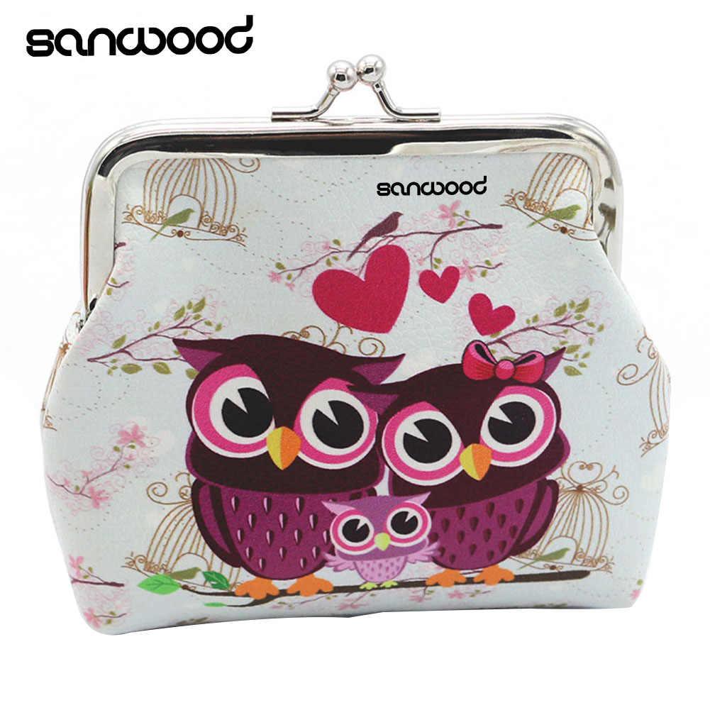 Wanita Retro Owls Penyimpanan Perubahan Kecil Mini Dompet Pengait Clutch Coin Purse Bag