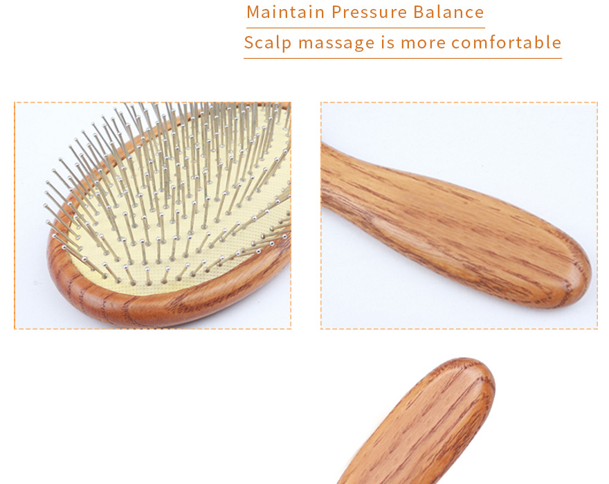 Wooden Steel Needle Hairbrush Scalp Massage De-tangling Comb