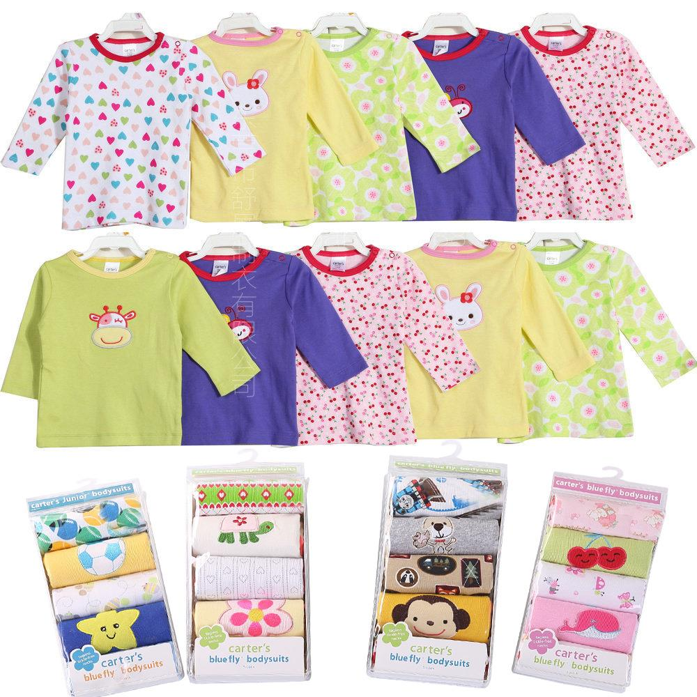 5PCS/LOT Baby T Shirt Cotton Long Sleeve Infant T-shirt Baby Cater Clothing Baby Boy Girl T Shirts Clothes Wholesale
