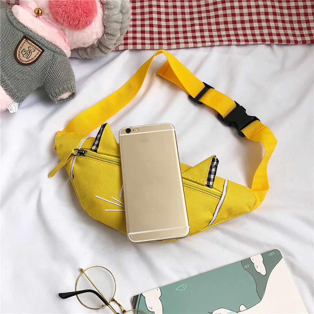 Enfant taille sac fanny pack pour enfants mignon chat oreille nerka poitrine toile poche argent ceinture sacs pochette épaule taille sac sac banane