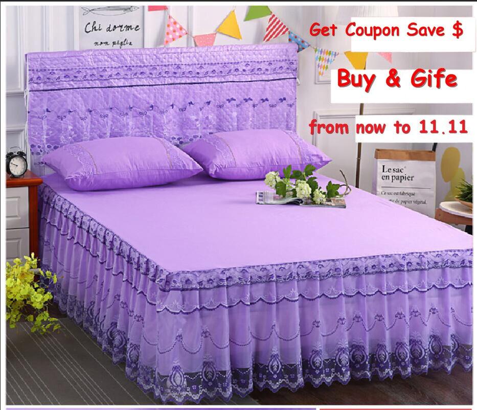 Purple color 1.5m/1.8m/2.0m cotton material Lace edge 3pcs bedspread set hot sale bed cover pillowcase home textile bedskirt