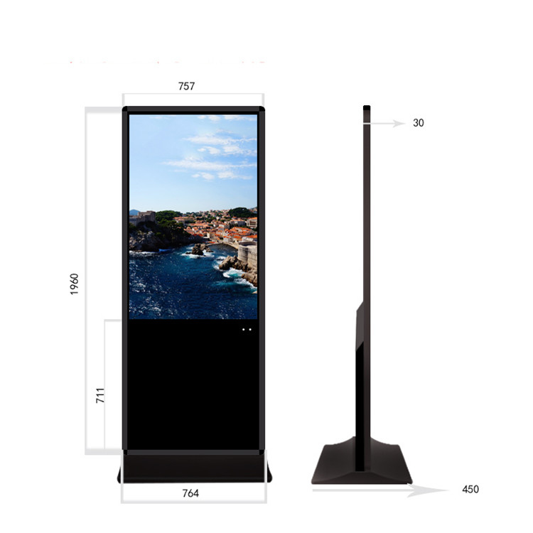 32 42 43 47 49 50 Inch Floor Standing Ultra Thin Advertising Player Windows Android Os LCD Touch Interactive Digital Signage