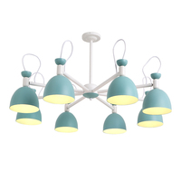 Creative simple 3/6/8 head solid wood LED chandelier lamp for living room yellow blue green ceiling chandelier lighting E27 bulb