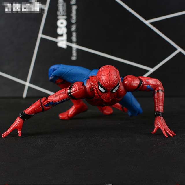 Mafex MAFEX047 Marvel Spiderman Spider Man Peter Parker Regresso A Casa Ver. PVC Action Figure Collectible Modelo Brinquedos