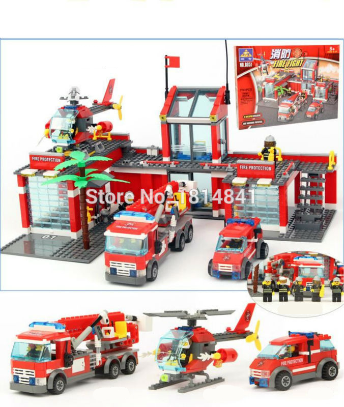 hot sale 774pcs Large Fire Station City Fire Helicopter Brick Fireman Toy Building Block  от Aliexpress INT