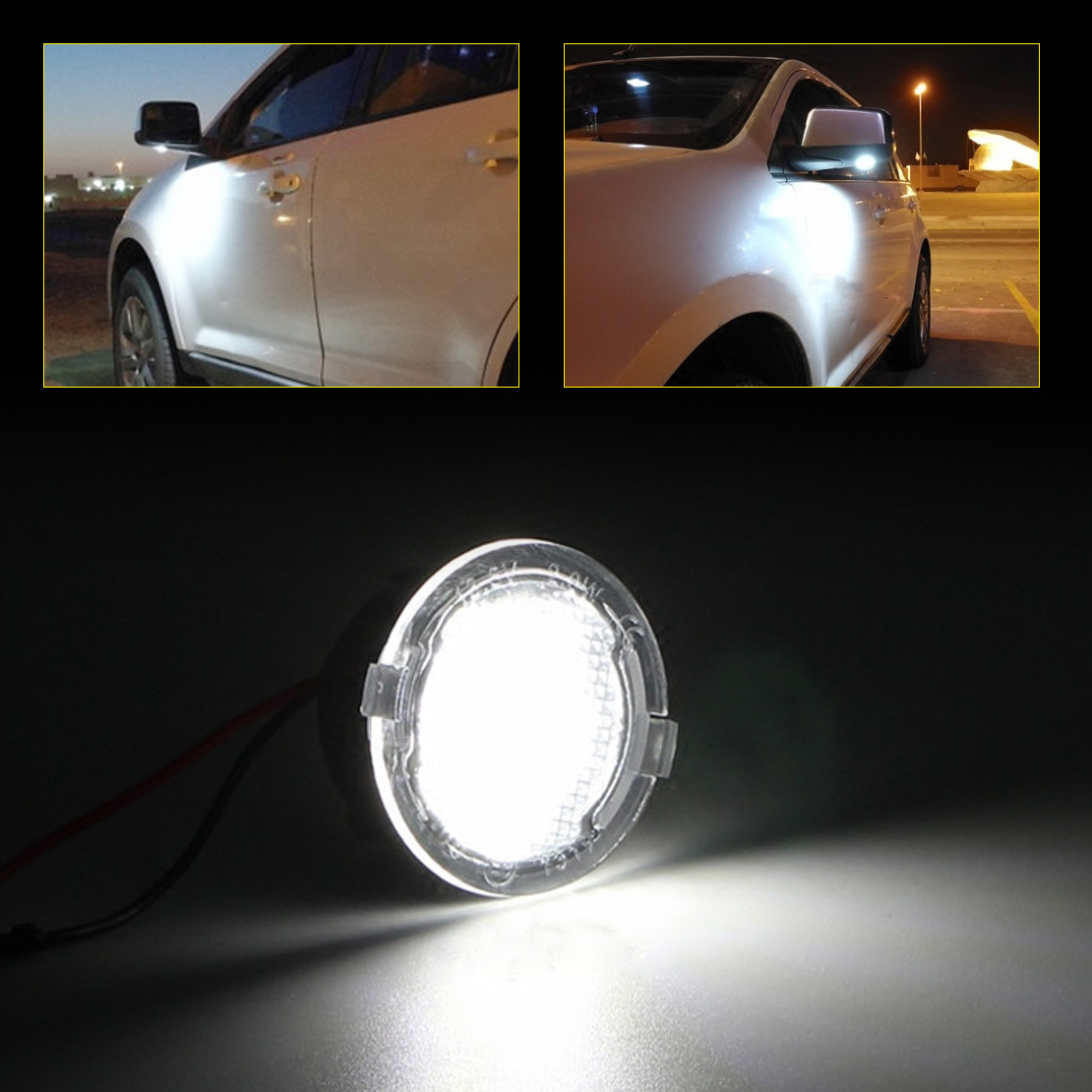 beler 2Pcs LED Under Side Mirror Light Car-styling Puddle Lamp Car Rearview Mirror Lamp For Ford F-150 2009 2010 2012 2013 2014 2pcs white under led side mirror puddle light lamp for vw golf gti mk6 6 mkvi 2010 2014