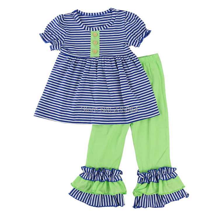 Spring clothes girls Short sleeve Blue Stripe shirt and Ruffle pants sets legging set Girl boutique outfits clothing set family fashion summer tops 2015 clothers short sleeve t shirt stripe navy style shirt clothes for mother dad and children