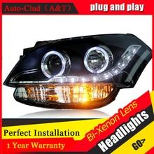 Car Styling For KIA SOUL Headlights 2009 2012 SOUL LED Headlight Automobile angel eye led drl
