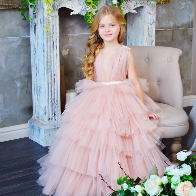 2019 Pretty Flower Girl Dresses For Weddings Tiered Ruffles Tulle Floor Length Girls Communion Dress Cheap Superior Materials