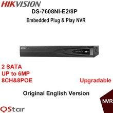 Hikvision nvr ds-7608ni-e2/8 p 8ch grabación de cámaras hd ip 6mp 8 poe 2 sata de vídeo en red de seguridad grabadora