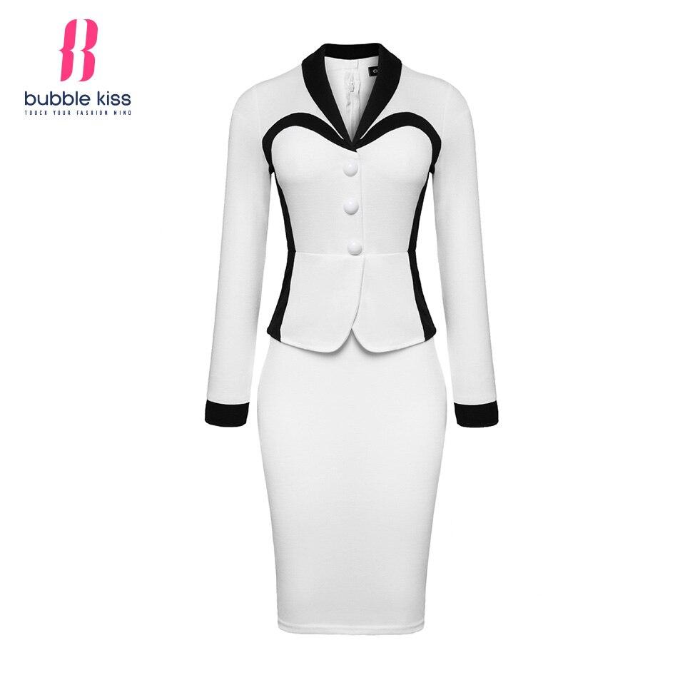 Patchwork Pencil Dress Office Women Long Sleeve Peplum Work Dresses Black White Button Autumn Winter Bodycon Dress Vestidos