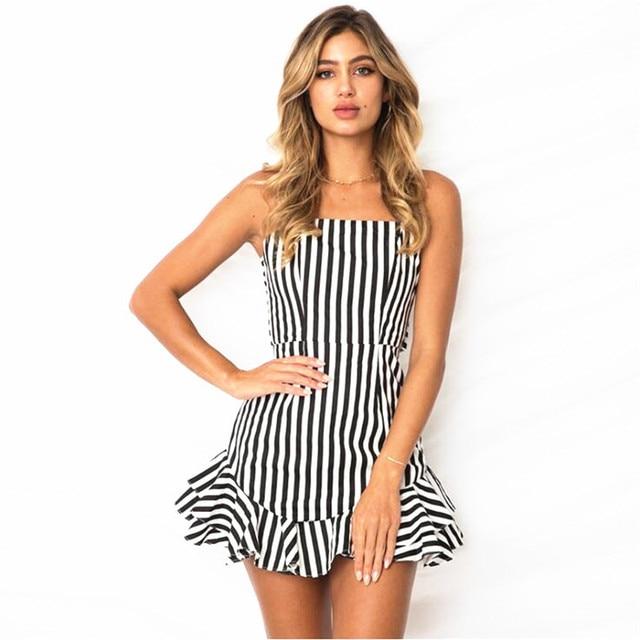 Striped Short Dresses