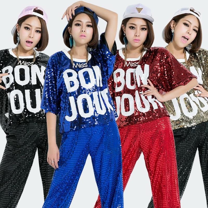 New Sequins Girls Shirts Women Sequined T shirt Dancing Tops Hot Sale Hip Hop Dance Tee For Womens Club/Party/Disco/Jazz Shirts