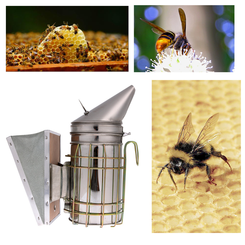 Bee Hive Smoker W// Heat Shield Protection Board Stainless Steel Beekeeping Tool