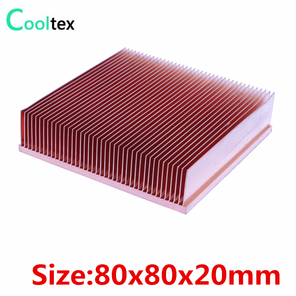 2017 new 80x80x20mm Pure Copper Heatsink Skiving Fin Heat Sink for electronic Chip LED VGA Radiator cooling cooler 10pcs lot ultra small gvoove pure copper pure for ram memory ic chip heat sink 7 7 4mm electronic radiator 3m468mp thermal