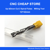 AAA UP DOWN Cut 10x42mm Two Flutes Spiral Carbide Mill Tool Cutters CNC Router Compression Wood