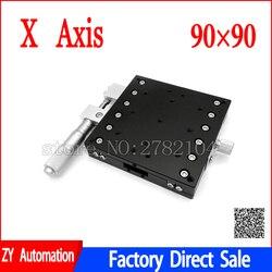 Oś X 90x90mm platforma do przycinania ręczne stopnie liniowe strojenie łożyska stół przesuwny X90 L X90 C X90 R szyna krzyżowa w Prowadnice liniowe od Majsterkowanie na
