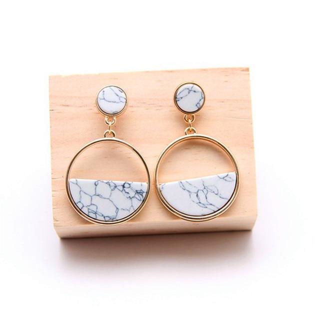 Geometric circular marble long earrings