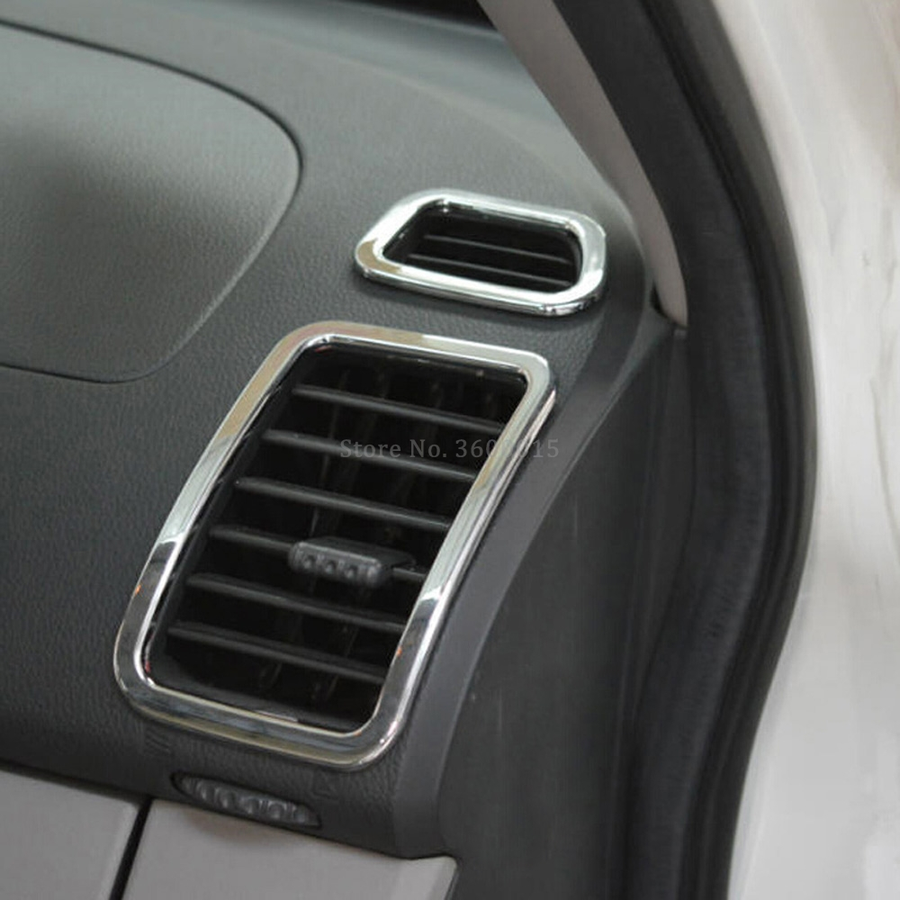 Car Accessories For <font><b>Mitsubishi</b></font> <font><b>Pajero</b></font> Montero Sport 2009-2011 <font><b>2012</b></font> 2013 2014 Interior Chrome Air Vent Outlet Cover Trim Frame image