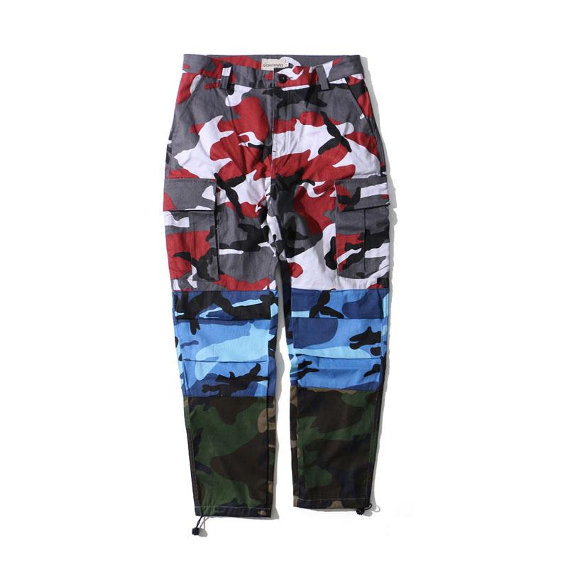 Tri Color Camo Patchwork Cargo Pants 4