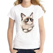 2016 New Fashion Watercolor Summer Grumpy Cat Print Women T Shirt Funny O-neck T-shirt Short Sleeve Harajuku Tops