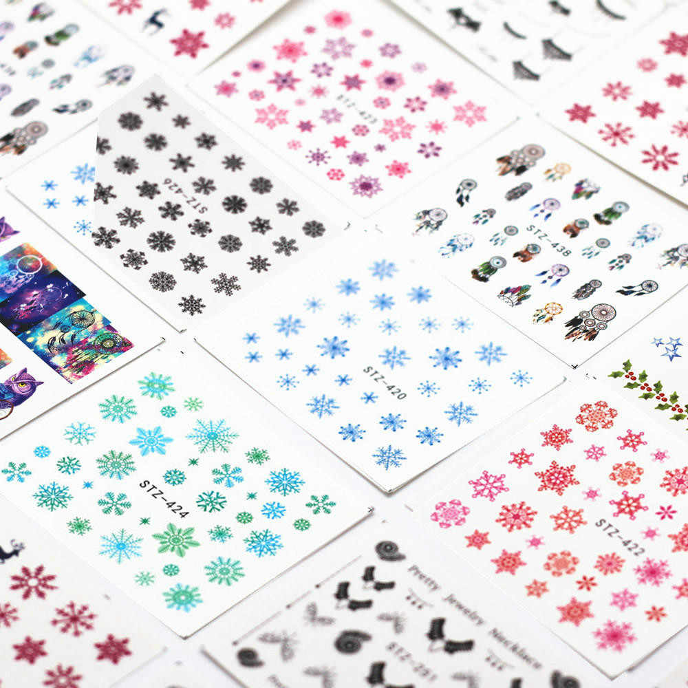 1 Pcs/SELL Snowflake Cartoon Nail Art Sticker Set Black Lace Glitter Flower Water Decal Slider Wraps Decor Manicure Ns200