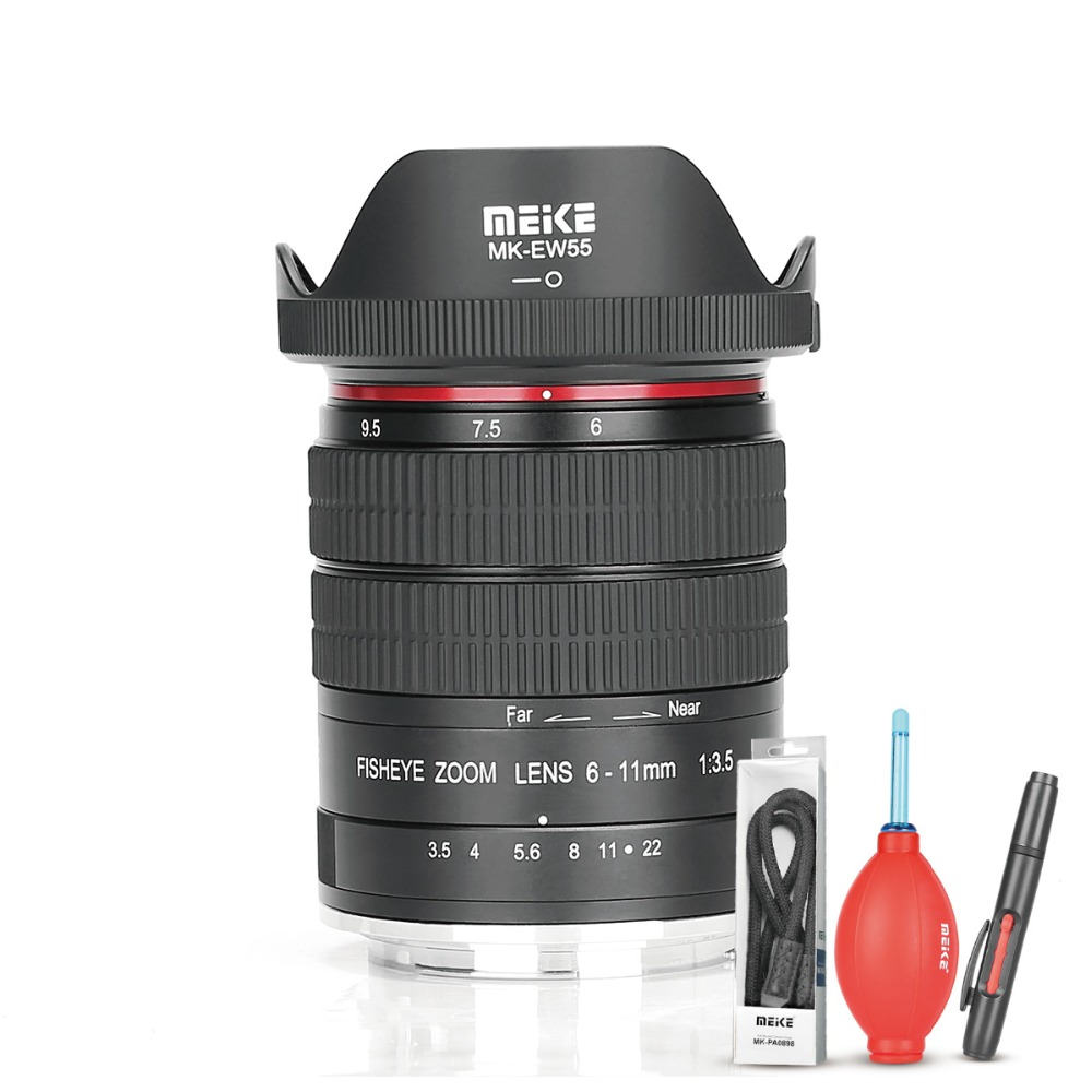 Meike 6-11mm Ultra Wide F3.5 Zoom Fisheye Lens for All Canon EOS EF Mount DSLR Cameras with APS-C/Full Frame+Free Gift 6 5mm f3 5 aluminum alloy ultra fisheye lens for canon black